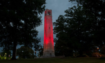 The red belltower looms over campus.