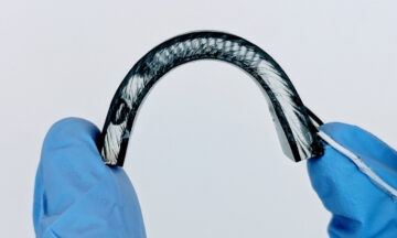 Photo of flexible, wearable device.